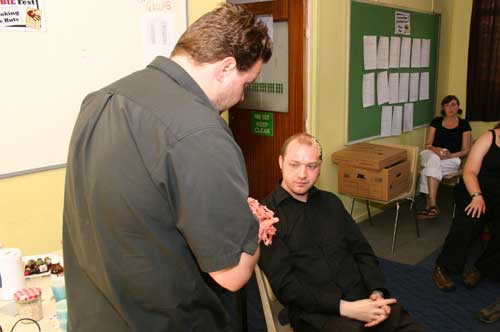 This selection of pictures is Stuart creating the zombie and applying various types of make up in different ways.
